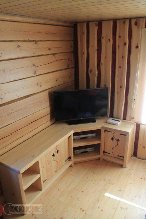 Täispuidust nurgakapp TV alus puitmööbel TV kapp